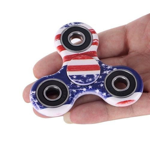 US USA Flag Tri-Spinner Hand Fidget Toy Camo American Red White and Blue Patriotic