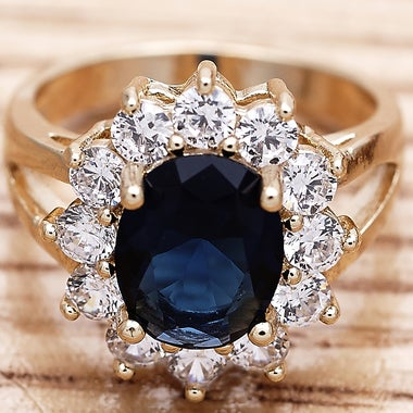 Luxury Gorgeous Rings 6.5 Ctw Blue and White Sapphire Halo And Brilliant Cut, 14