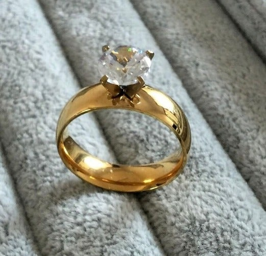 6mm Stainless Steel Gold Engagement Wedding Band Ring 2ct Cubic Zirconia