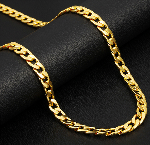 """24"""" Luxury 18K Cuban Chain Necklaces for Men,Yellow Gold plated"""