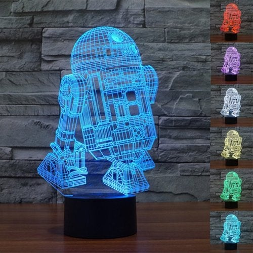 3D R2-D2 USB Powered Creative Color Changing LED Table Lamp Night Light