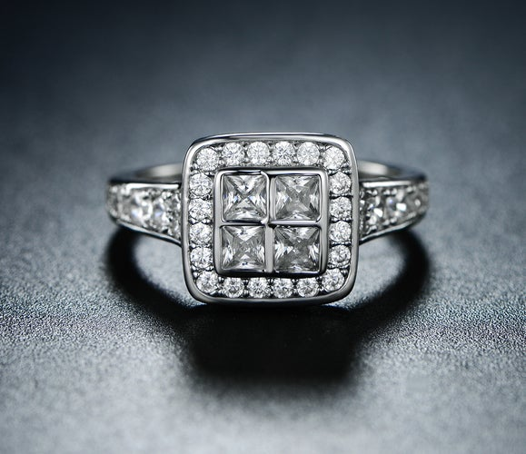 White Gold Filled Princess-Cut Cubic Zirconia Cocktail Ring