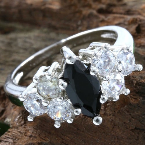 2.85ctw 14k White Gold Filled, Beautifully Created Fine Black & White Sapphire Ring