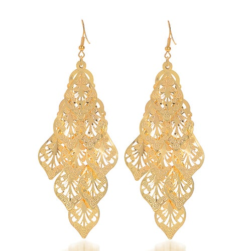 18kt Gold Plated Multi Leafs Hanging Earrings