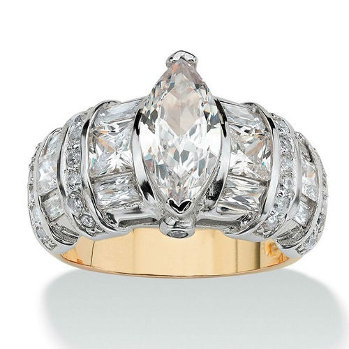 YGP Bold Marquise CZ Center Stone W/ Round & Princess Cut Side Stones Wedding/Engagement Ring