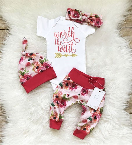 Newborn Baby Girls Worth the Wait Tops Romper Pants Floral Coming Home Outfit
