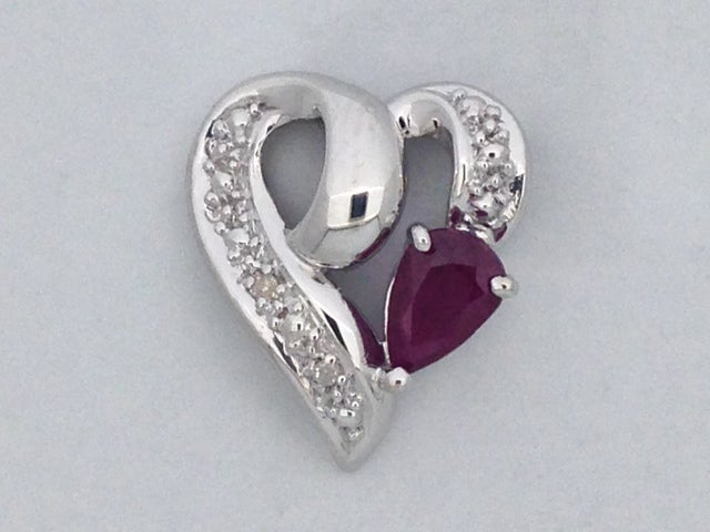 Natural Ruby with Natural Diamond Heart Pendant 925 Sterling Silver