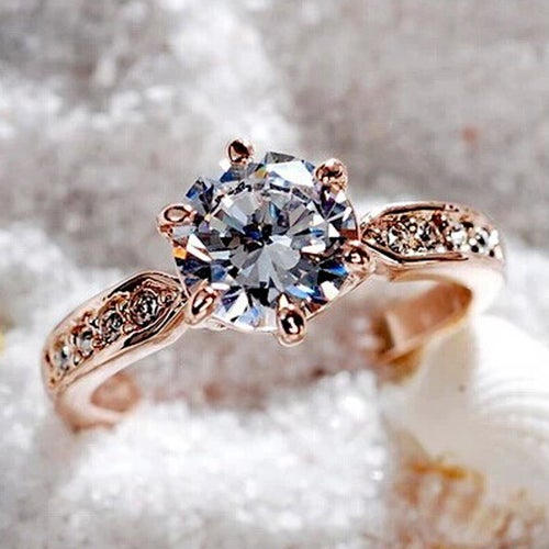 Wedding Zircon Engagement Rings for women Rose gold color