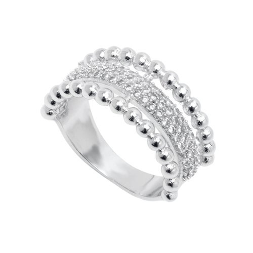 White Gold Filled CZ Half Face Stone Ring