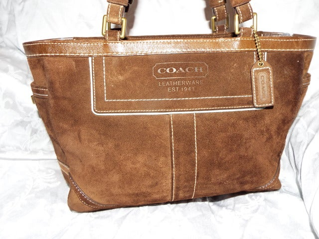 6c60cd7ae6d6e ... czech authentic coach brown gallery suede tote bag gorgeous 3f576 8ee7d