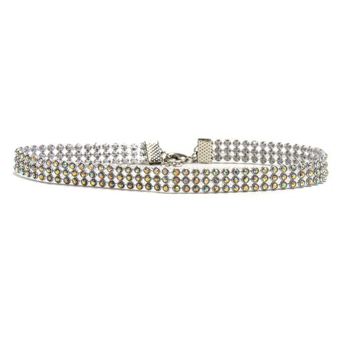 18K White Gold ptd 3-Row Choker Necklace wAustrian Crystal