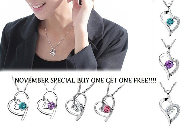 November Special... Buy one get one FREE!!!  18K white gold plated  heart necklaces