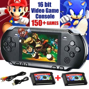 16 bit Handheld Game Console Portable Video Game 64+ Games+ 2 x Game Card Retro