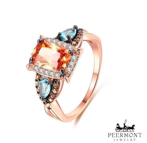 Rose Gold Plated Blue & Champagne Cubic Zirconia Statement Ring