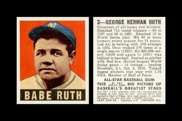 REPRINT 1949 Leaf #3 BABE RUTH NEW YORK YANKEES The Babe
