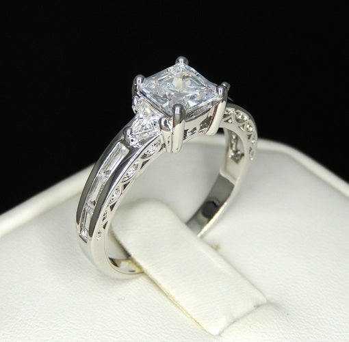 Brilliant Princess cut white gold filled ring