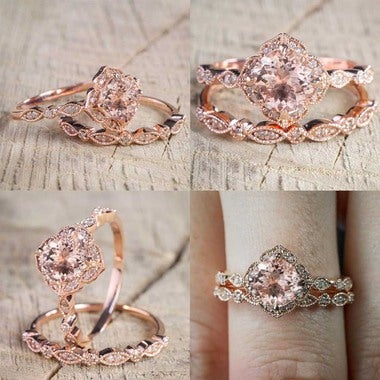 Antique Vintage Design Princess Cut  2 Pcs/Set Crystal Ring Jewelry Rose Gold Co