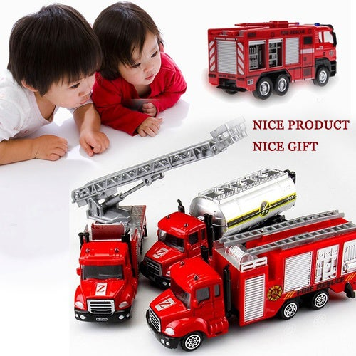1:64 Nice  Scale Alloy Fire Fighting Truck Model Children Kids Toy