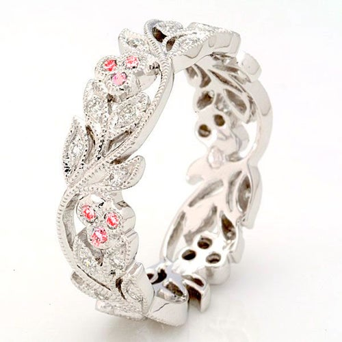 18K White Gold Plated Pink CZ Floral Full Circle Eternity Band #944