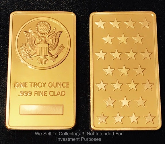 1 Troy Ounce .999 Gold Clad *** THE GREAT SEAL OF THE UNITED STATES *** Bar
