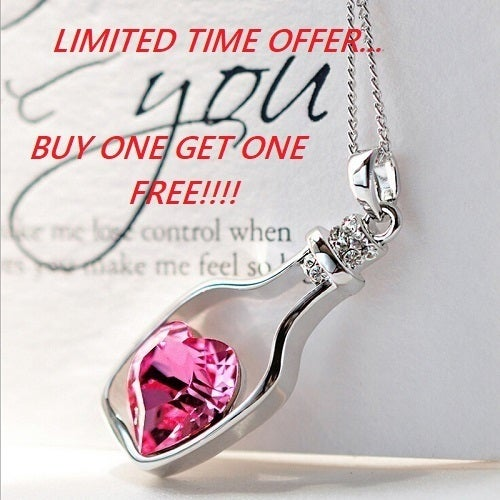 Bogo Offer... Buy one get one FREE!!! Heart in a bottle shaped pendant necklace comes in 8 colors!!!