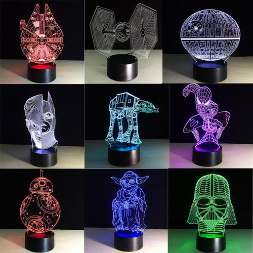 Creative Gifts Star Wars Lamp 3D Night Light USB Led Table Desk Lampara as Home Decor Bedroom Reading Nightlight kids toys