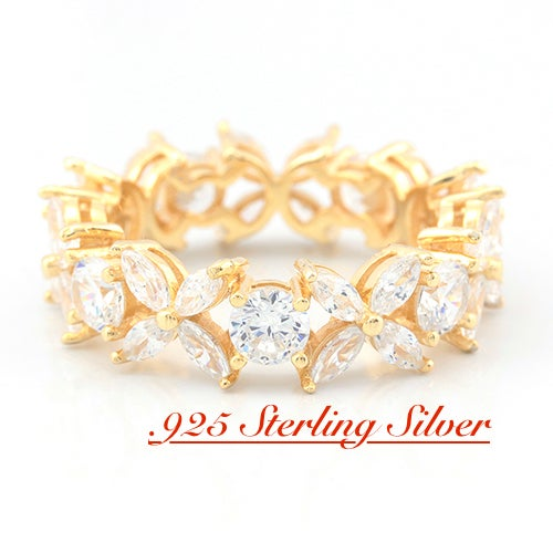 New 2017- Solid .925 Sterling Silver w/18k Yellow Gold 3.75ct Beautifully Created White Sapphire Eternity Ring
