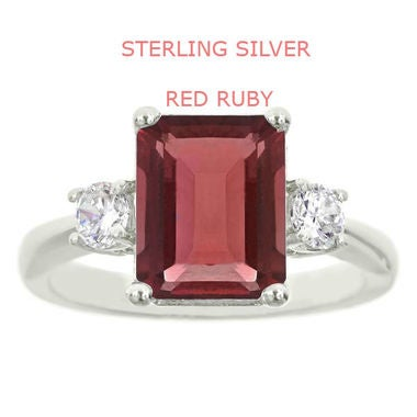 Sterling Silver Genuine Red Ruby Large 8mm Stone Prong Setting Ring