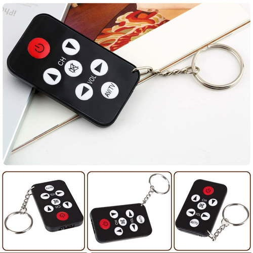IR Universal Infrared Mini Tv Remote Control 7 Keys Keychain Set Key Ring Black