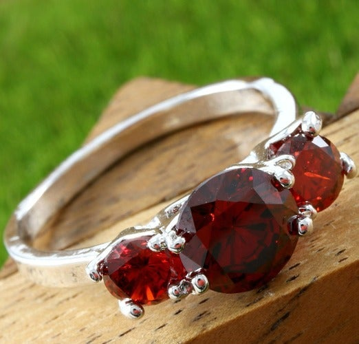 2.50ctw 14k White Gold Filled, Beautifully Created Garnet Fine Past, Present, Future Ring RRGlam105