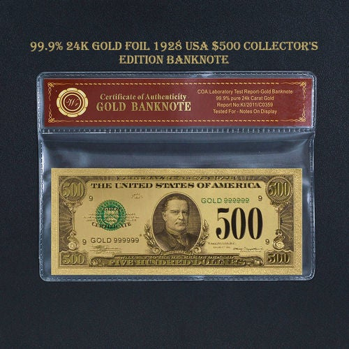 99.9% 24k Gold Foil Polymer Collectors US $500 with Certificate of Authenticity