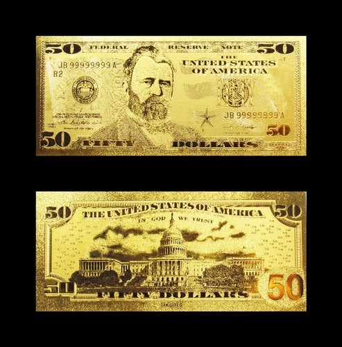 ★ 24K ★ $50 Design Gold Foil Pressed on Poly-Carbonate Replica Banknote