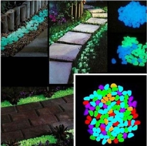 Decorative Yard Glow in the Dark Noctilucent Pebbles Stones for Walkway Park Ornaments(20pcs)