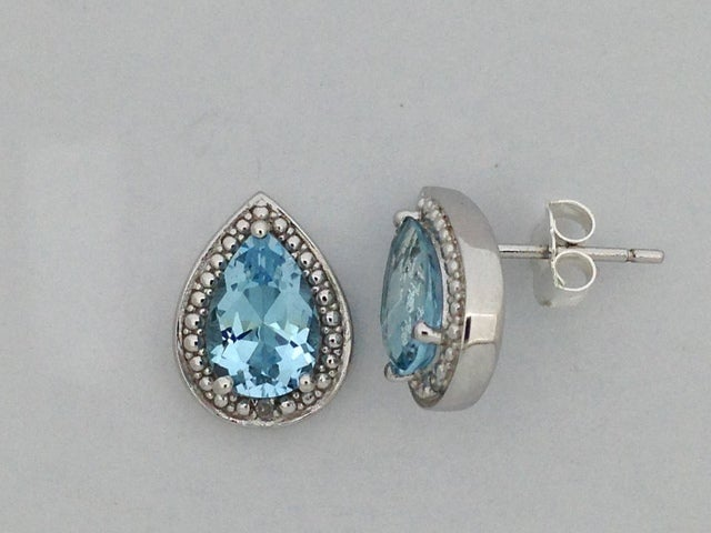 Natural Blue Topaz with Natural Diamond Stud Earrings 925 Sterling Silver
