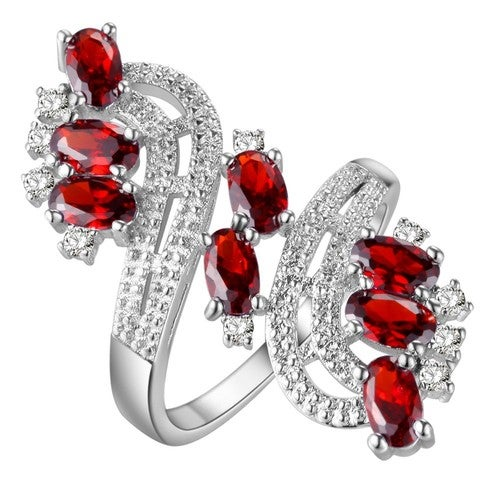 Diamond Accent Genuine Red Ruby Statement Ring
