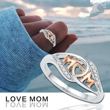 Great Gift  Love Mum Ring Two Tone 18k Rose Gold Plated MOM Character Jewelry Fa