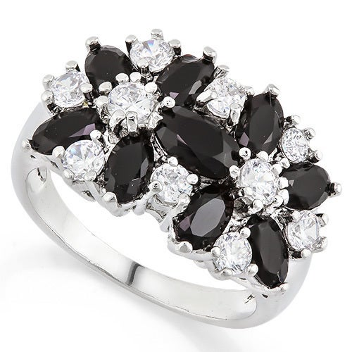 14k White Gold Filled, Beautifully created Fine Dark Blue and White Sapphire Ring