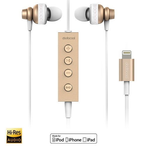 dodocool MFi Certified Hi-Res In-ear Stereo Earphone with Lightning Connector Remote and Mic - 24 bit High-Resolution Audio for Lightning Devices Gold