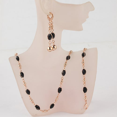 18kt Rose Gold Plated 3 Piece African Beads Set
