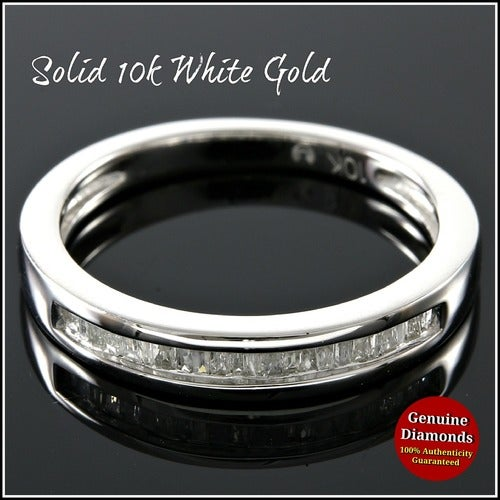 Solid 10k White Gold, 0.20ctw Genuine Diamonds Wedding Band #glamgold4314