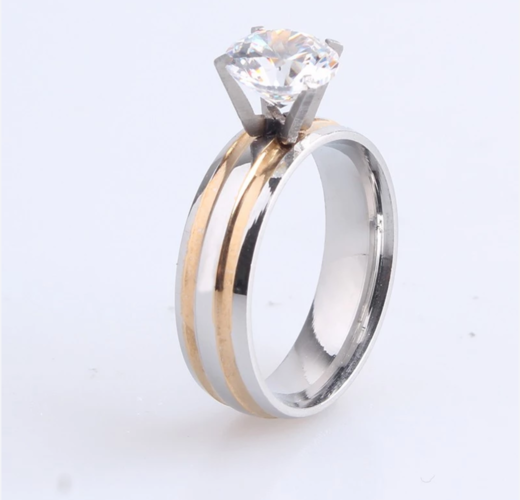 6mm Stainless steel gold and silver striped wedding engagement ring.