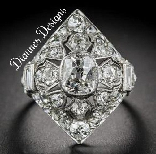 Vintage Inspired 3.75 Carat Ring 25x22mm By Diannes Designs