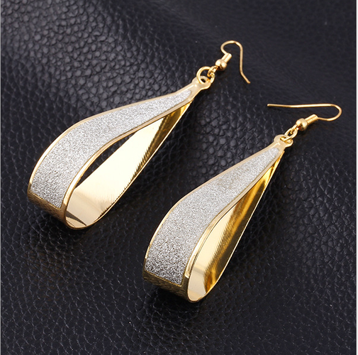 18kt Gold Plated Sanded Texture Drop Earrings