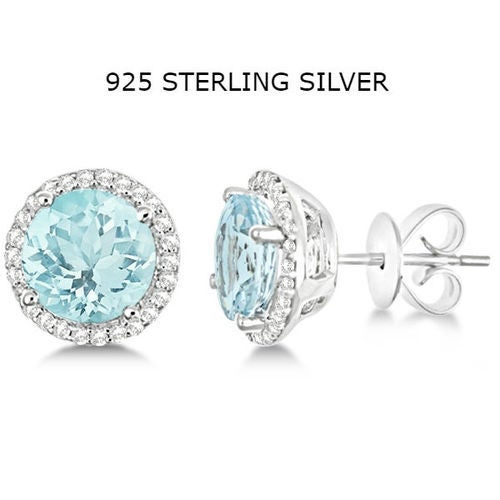 Sterling Silver Micro Pave Blue Halo Studs Earrings