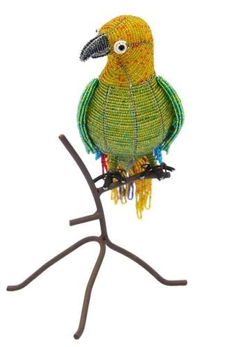 Tropical Green Parrot Macaw Glass Beaded Wire Sculpture