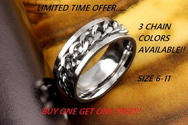 LIMITED TIME OFFER... BUY ONE GET ONE FOR FREE!!! 7mm Titanium Stainless Steel with rotating  inner chain. Size 6-11