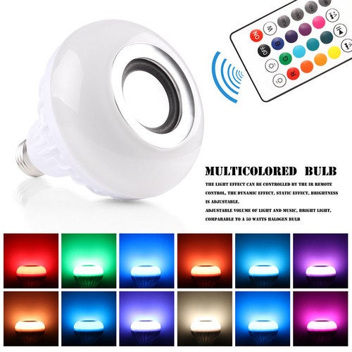 Bluetooth 4.0 Music Audio RGBW Speaker Light RGB 7W E27 LED Bulb Lamp for iOS Android