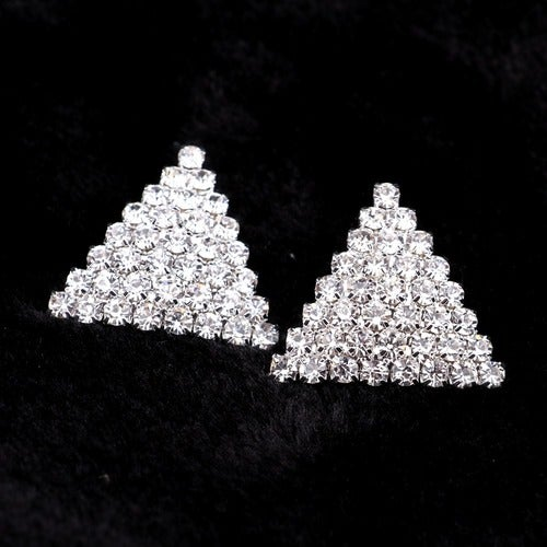 18kt White Gold Plated AAA Cubic Zirconia Triangle Earrings