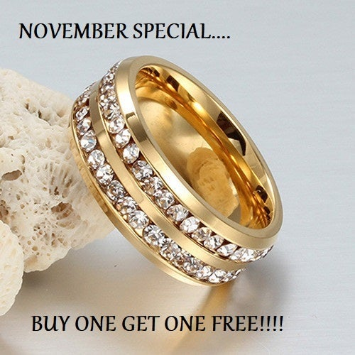 BOGO Special... BUY ONE GET one FREE !!!! Stainless steel AAA crystal ring size 4-13