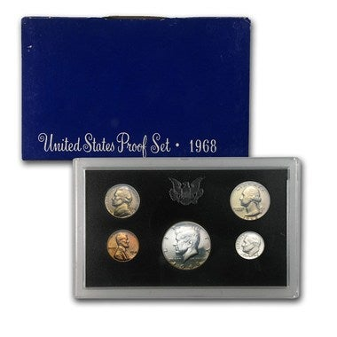1968 US Mint Proof Coin Set w/ 40% Silver Kennedy Half